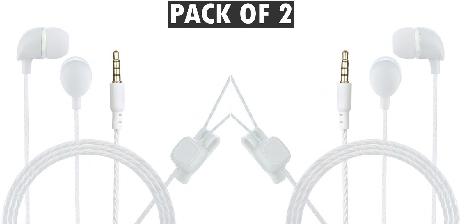 Hitage Super Bass Perfect Sound Track (Pack of 2) Wired Headset Gaming Headphone (White, In the Ear)