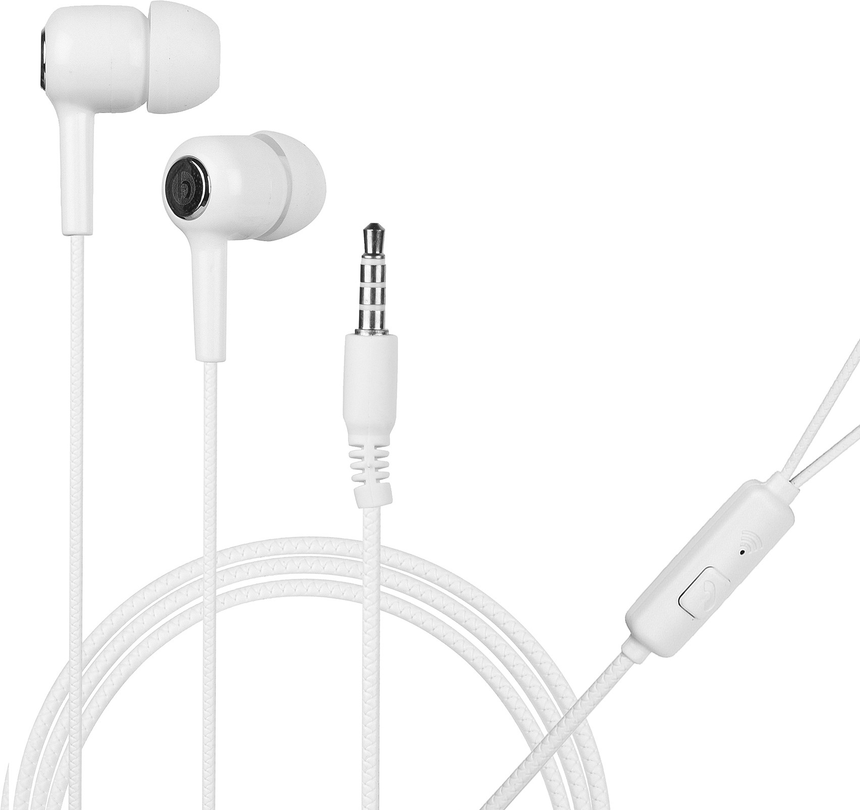 Hitage Music Extra bass earphone with One Key Answer Button Wired Headset (White, In the Ear)