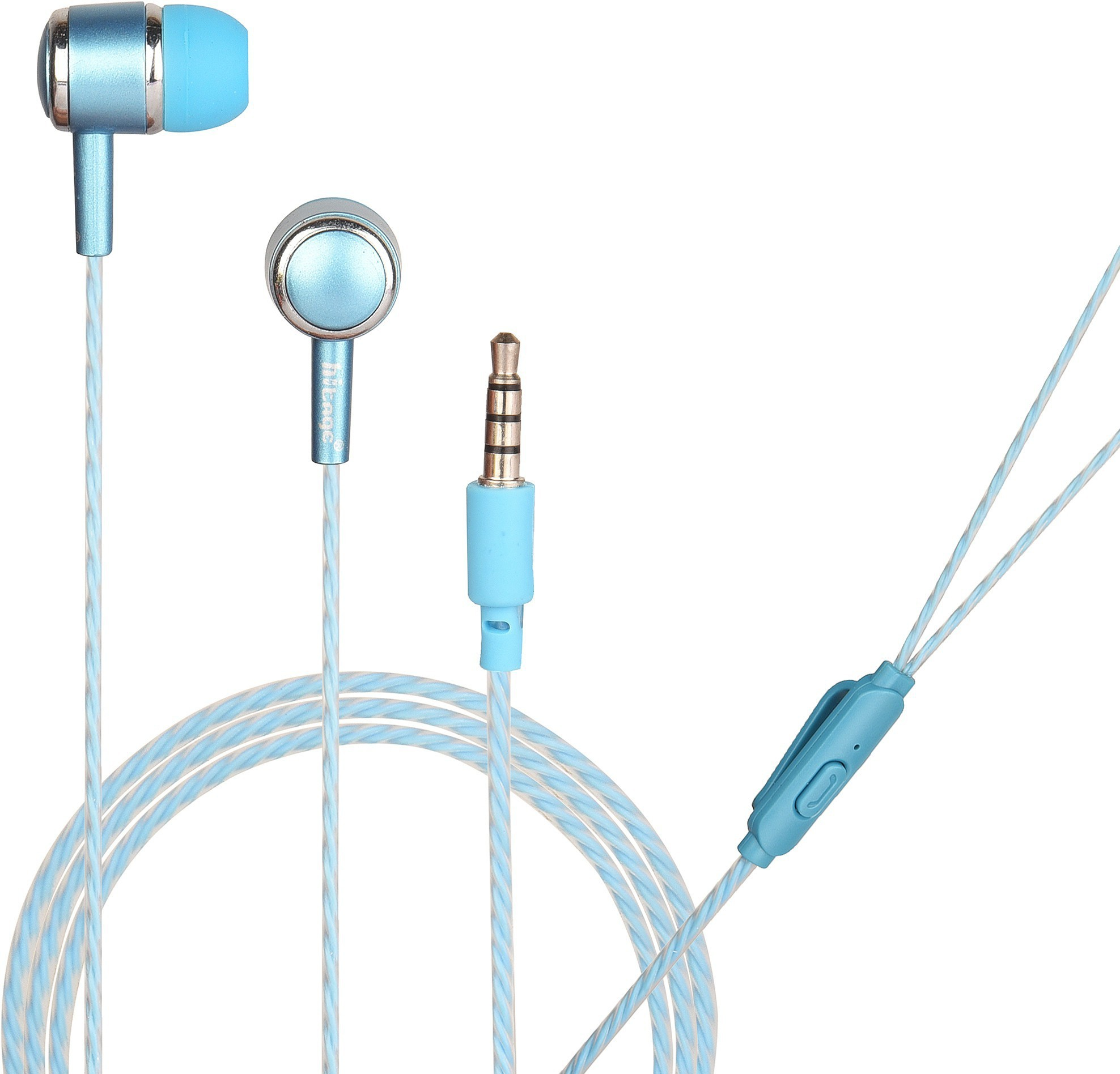 Hitage Round earphone with One Key Answer Button Wired Headset (Sky Blue, In the Ear)