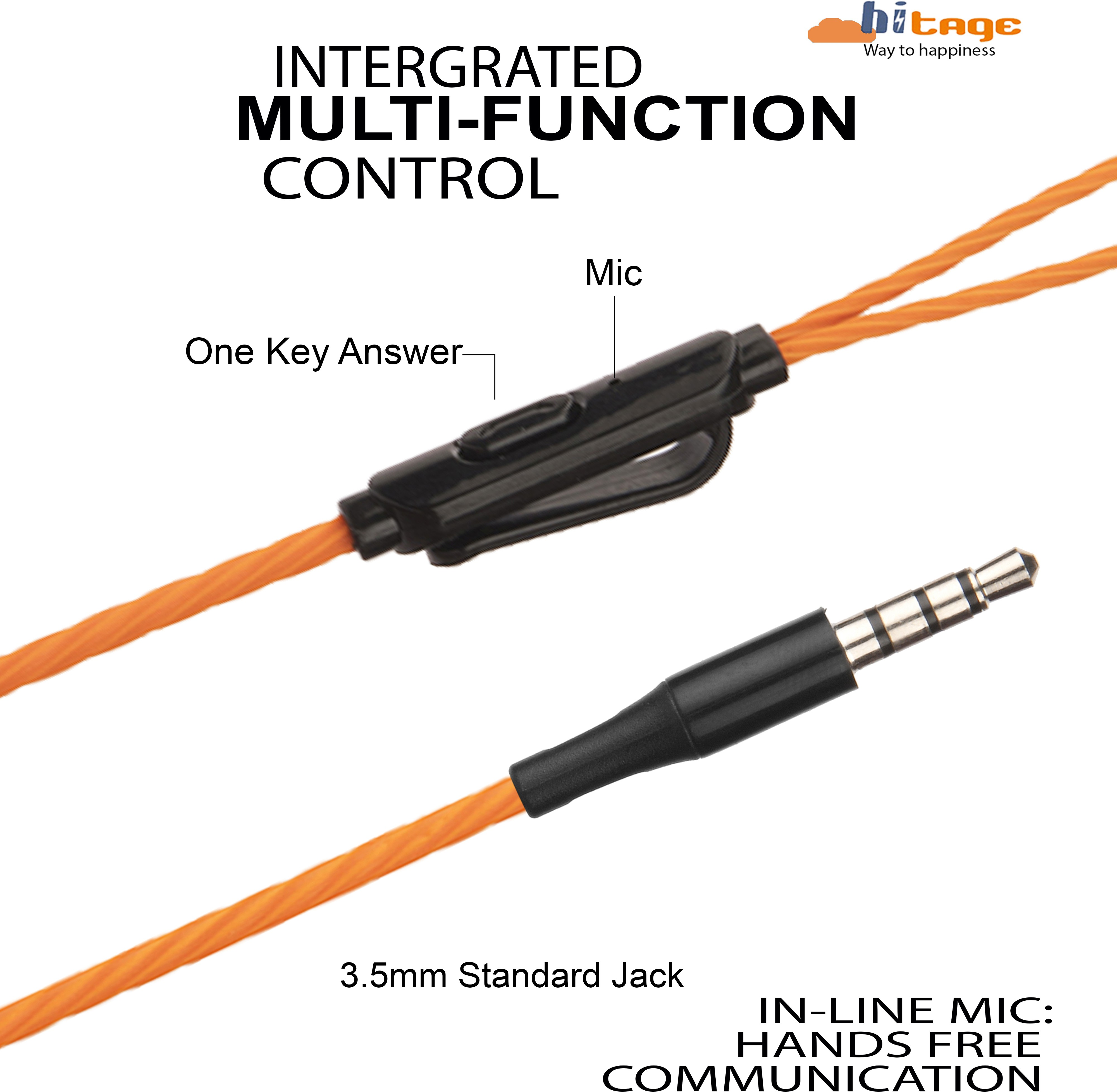 Hitage HP-139 Wired Headset (Orange, In the Ear)