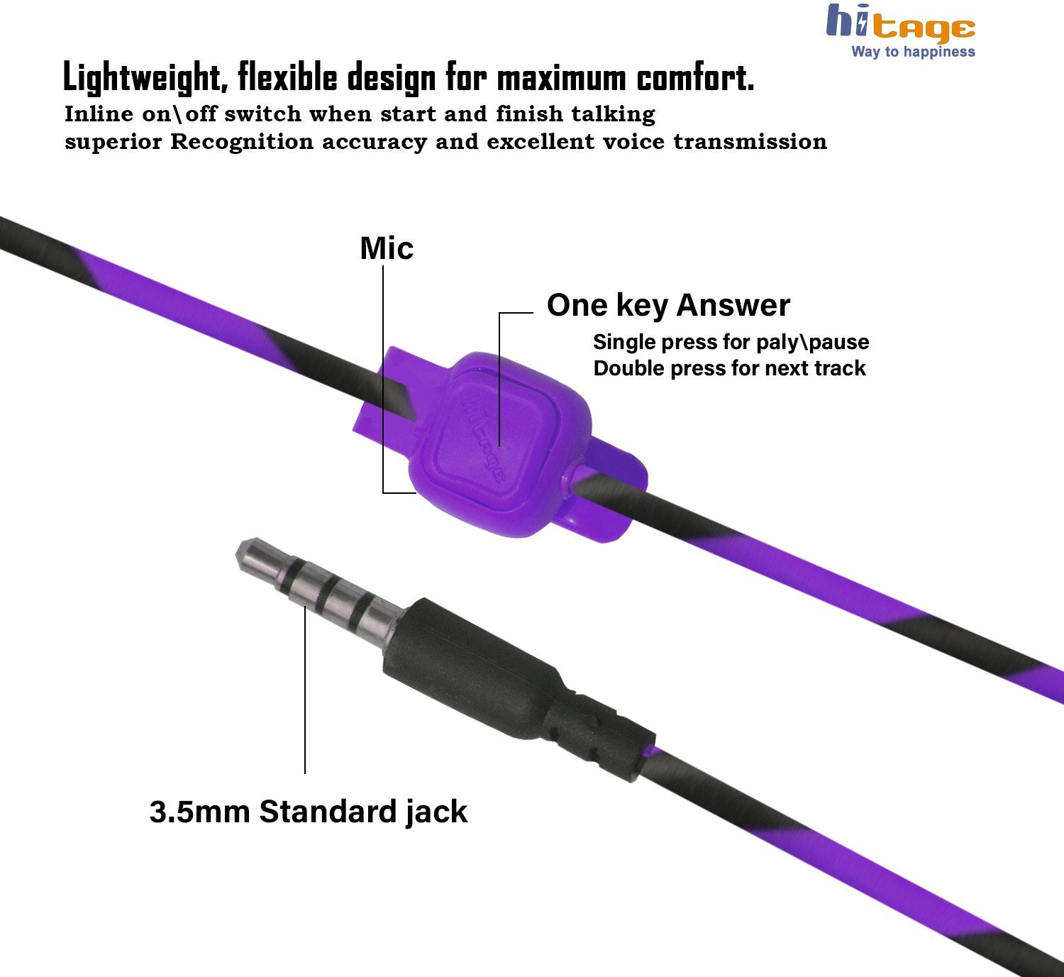 Hitage Champ Super Bass Perfect Soundtrack Headset +Ball Pen Wired Headset (Purple, In the Ear)