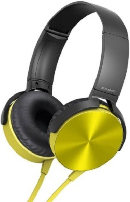 MDR XB450AP Wired Extra Bass On-Ear Headphones Wired Headset(Yellow, On the Ear)