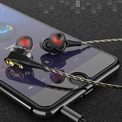 4D Deep Bass Stereo Earphone Dual Driver Sport Wired Calling Music Gaming Headset Compatible for All Android Smartphones
