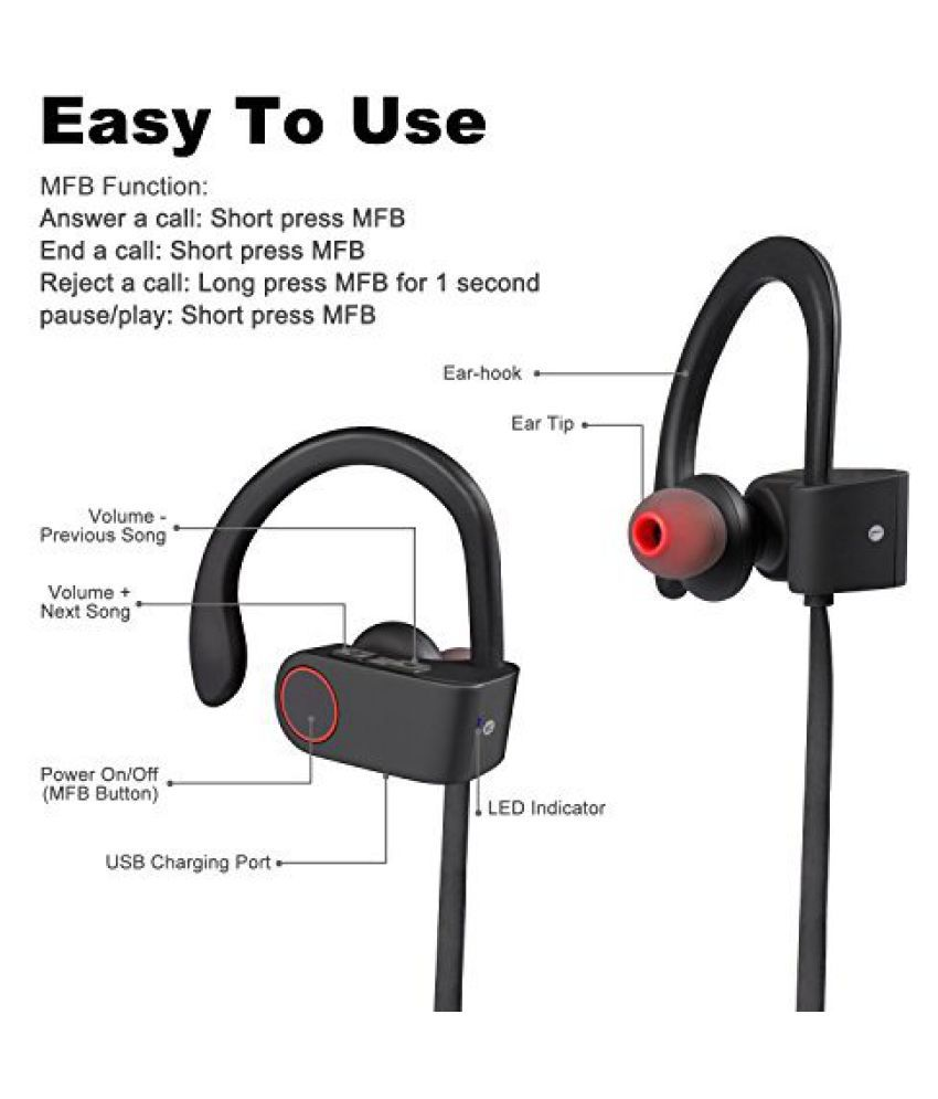 QC10 NeckBand Wireless in the ear Behind the Neck - Black