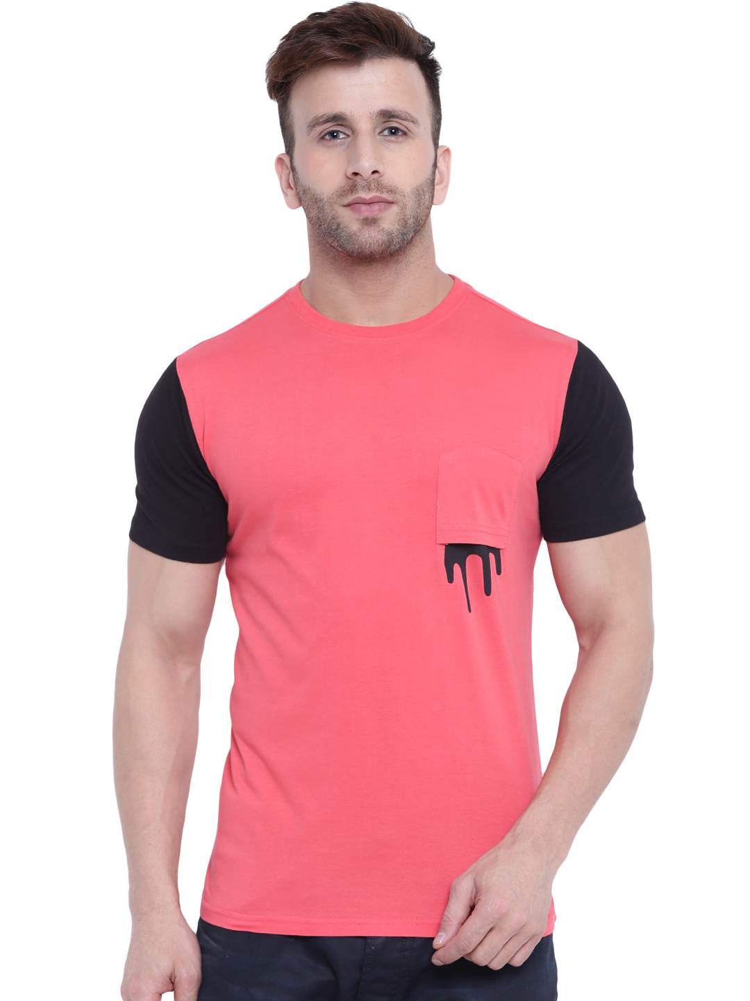 Gritstones Gritstones Coral/Black Paint Drop Printed  Round Neck T-Shirt