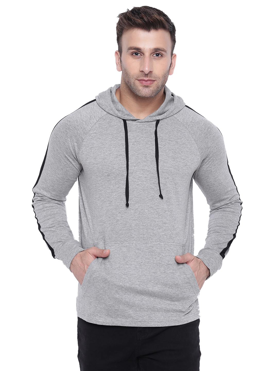Gritstones Grey Melange/Black Full Sleeve Hooded T-Shirt