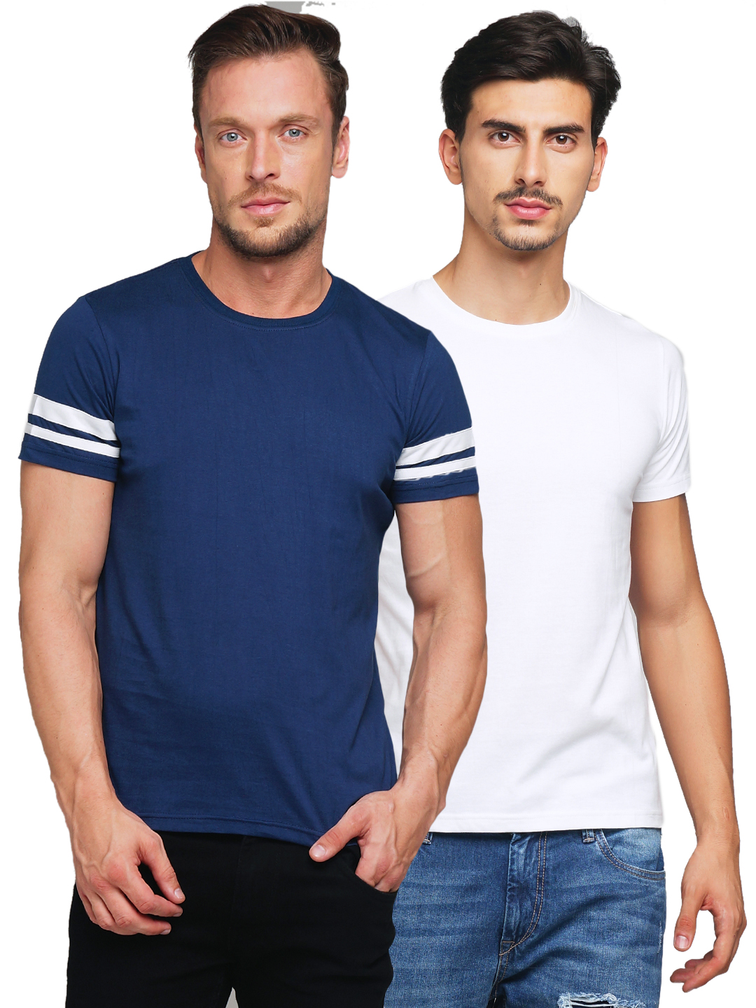 Gritstones Dell Blue / White Round Neck T-Shirt Combo
