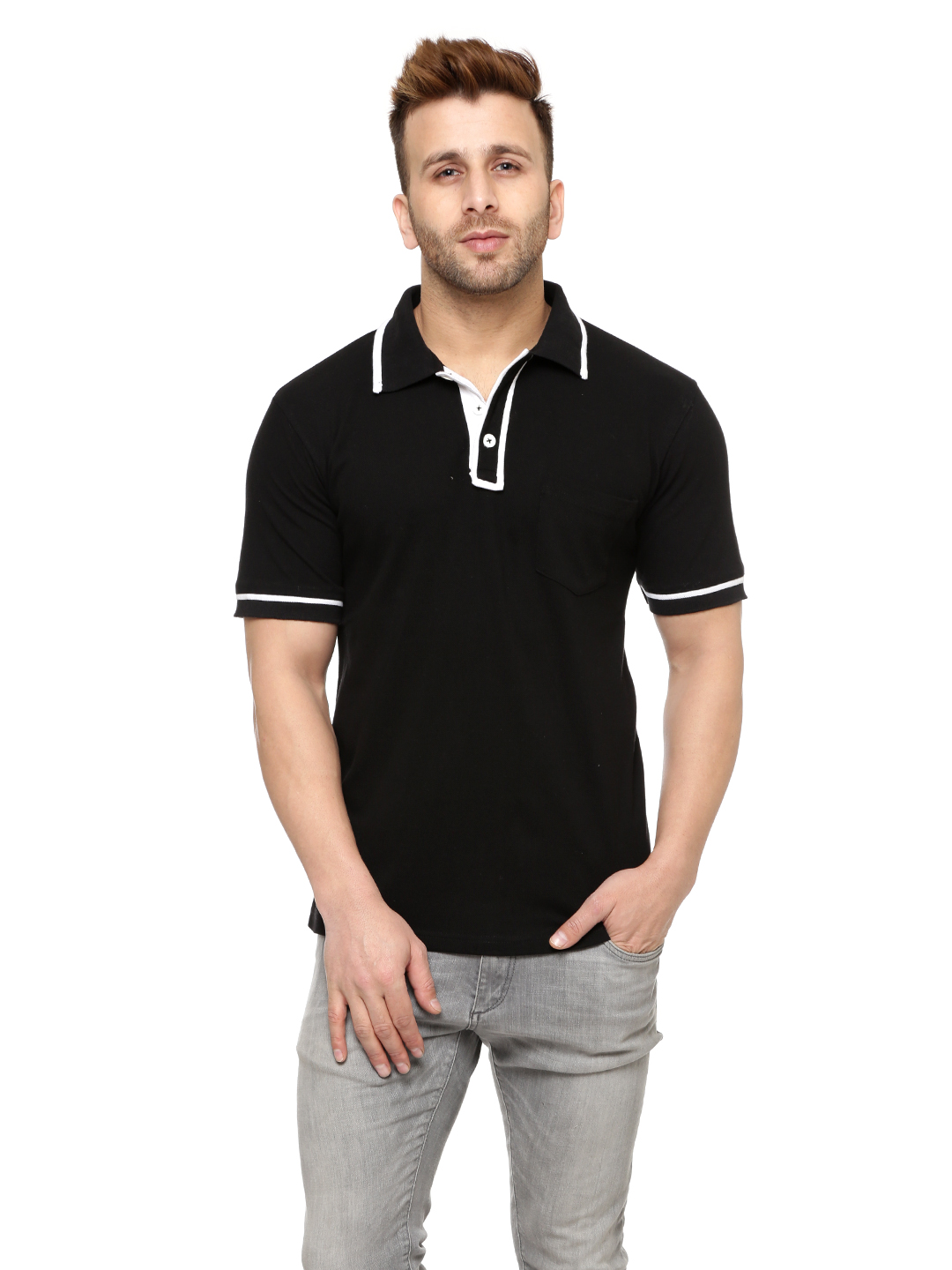 Gritstones Black/White Half Sleeves Cotton Polo T-Shirt