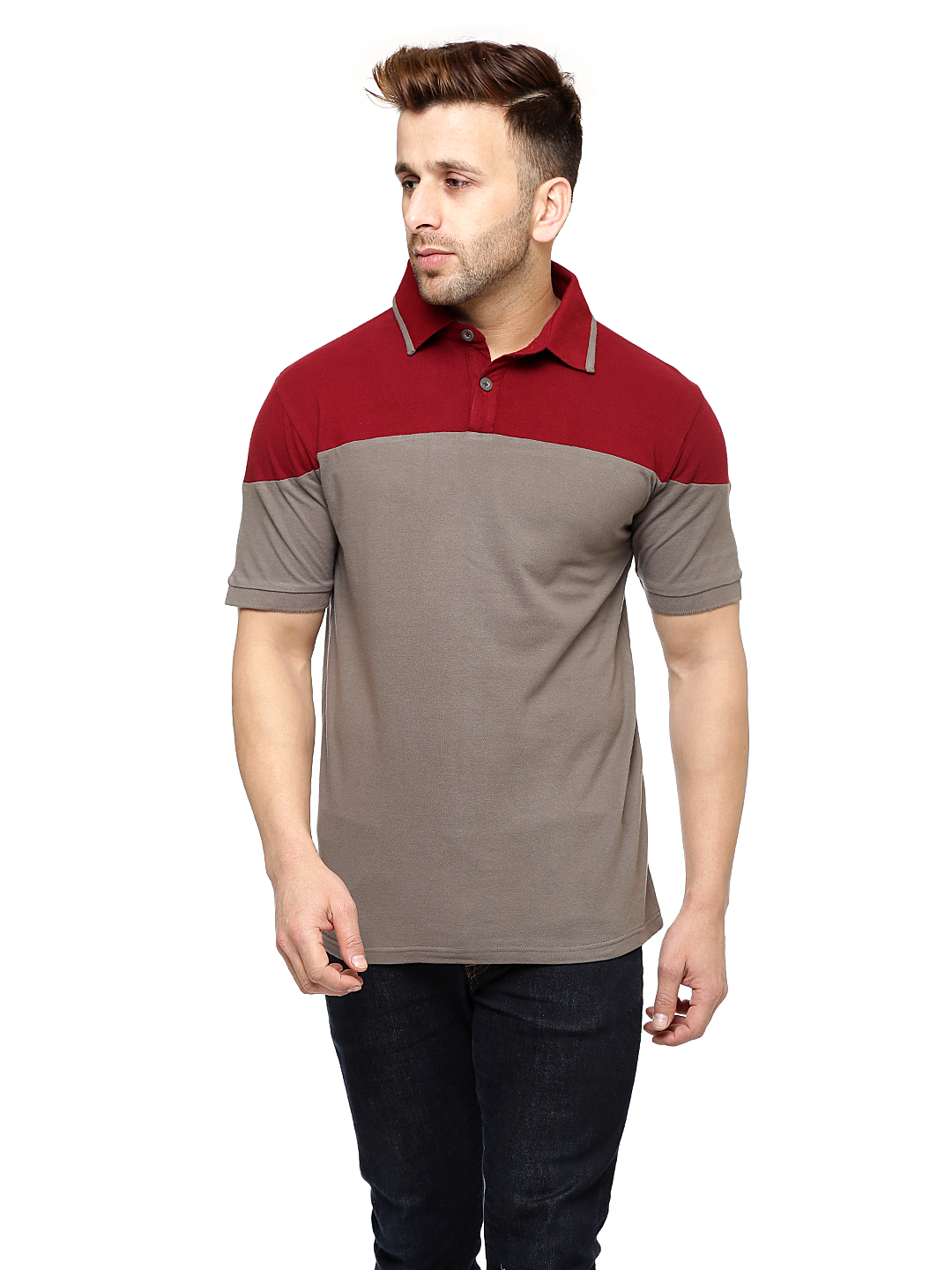 Gritstones Maroon/Steel Grey Half Sleeves Cotton Polo T-Shirt