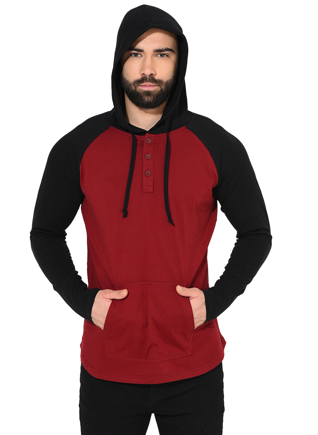 Gritstones Maroon/Black Full Sleeve Hooded T-Shirt