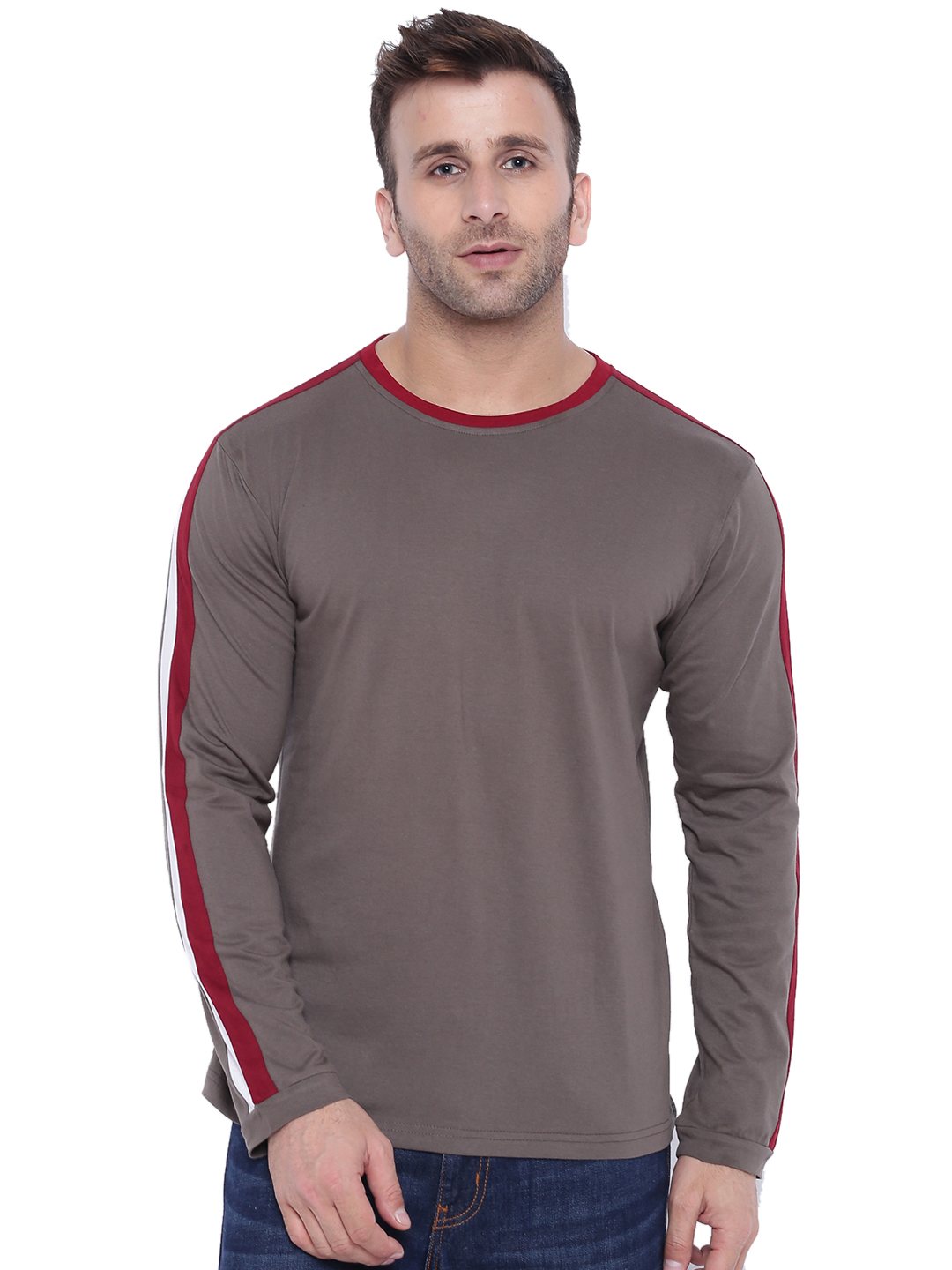Gritstones Steel Grey/Maroon/White Full Sleeve Round Neck T-Shirt