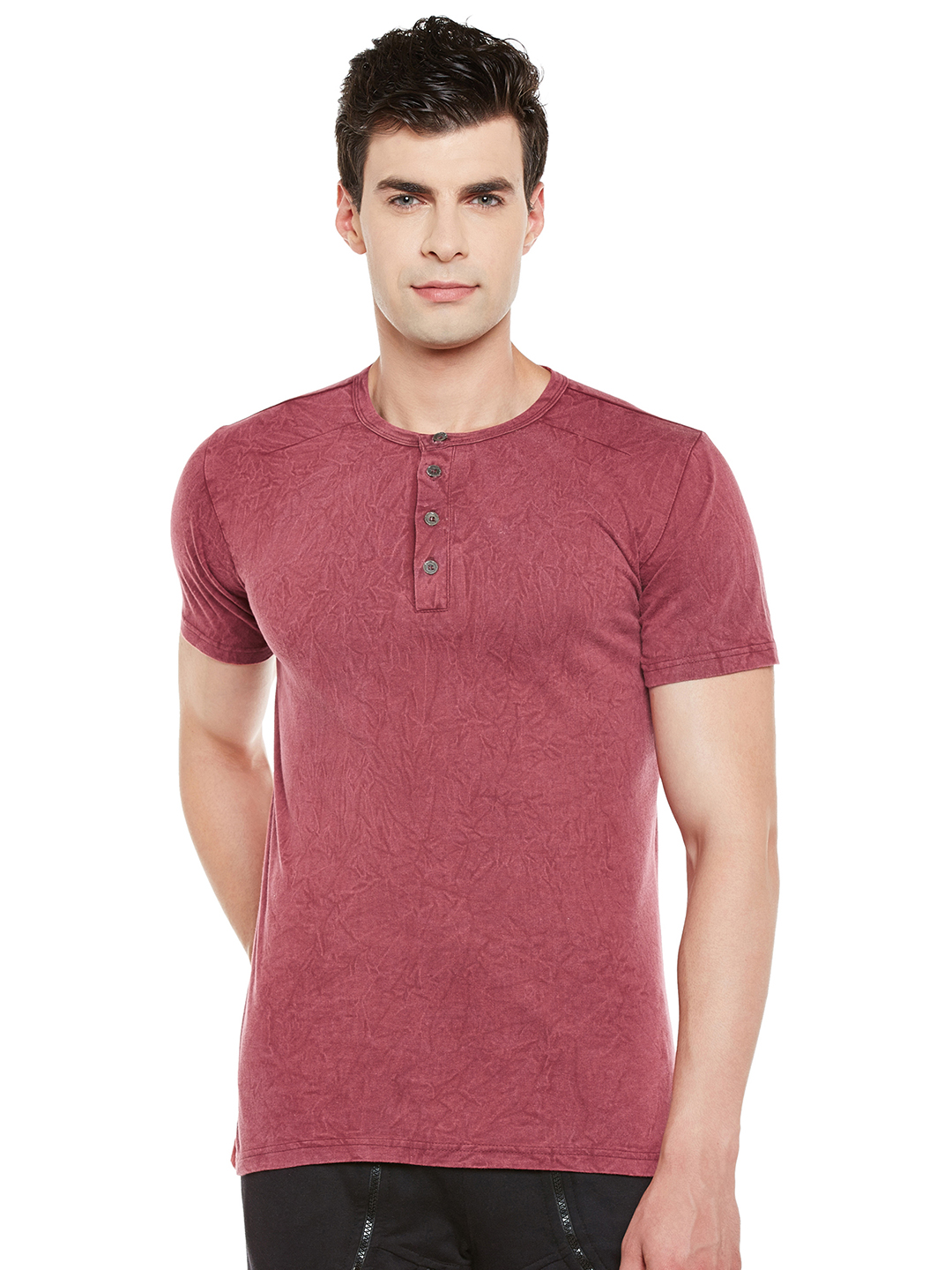 Gritstones Maroon Half Sleeves Enzyme Wash Round Neck T-Shirt