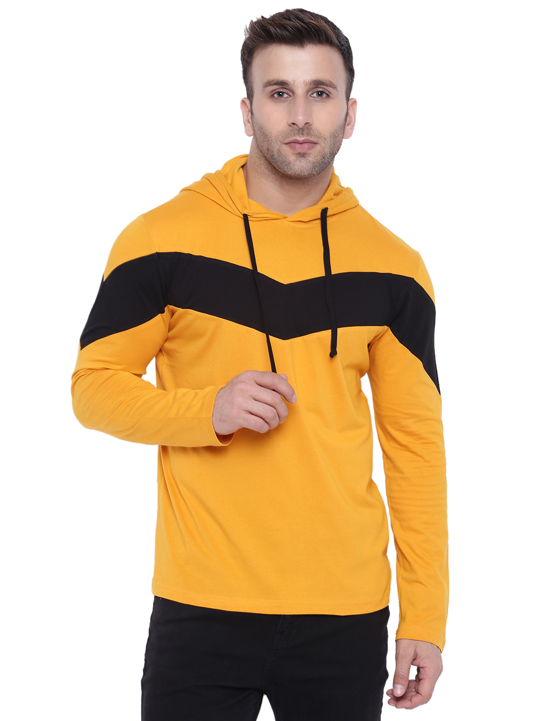 Gritstones Yellow/Black Full Sleeve Hooded T-Shirt