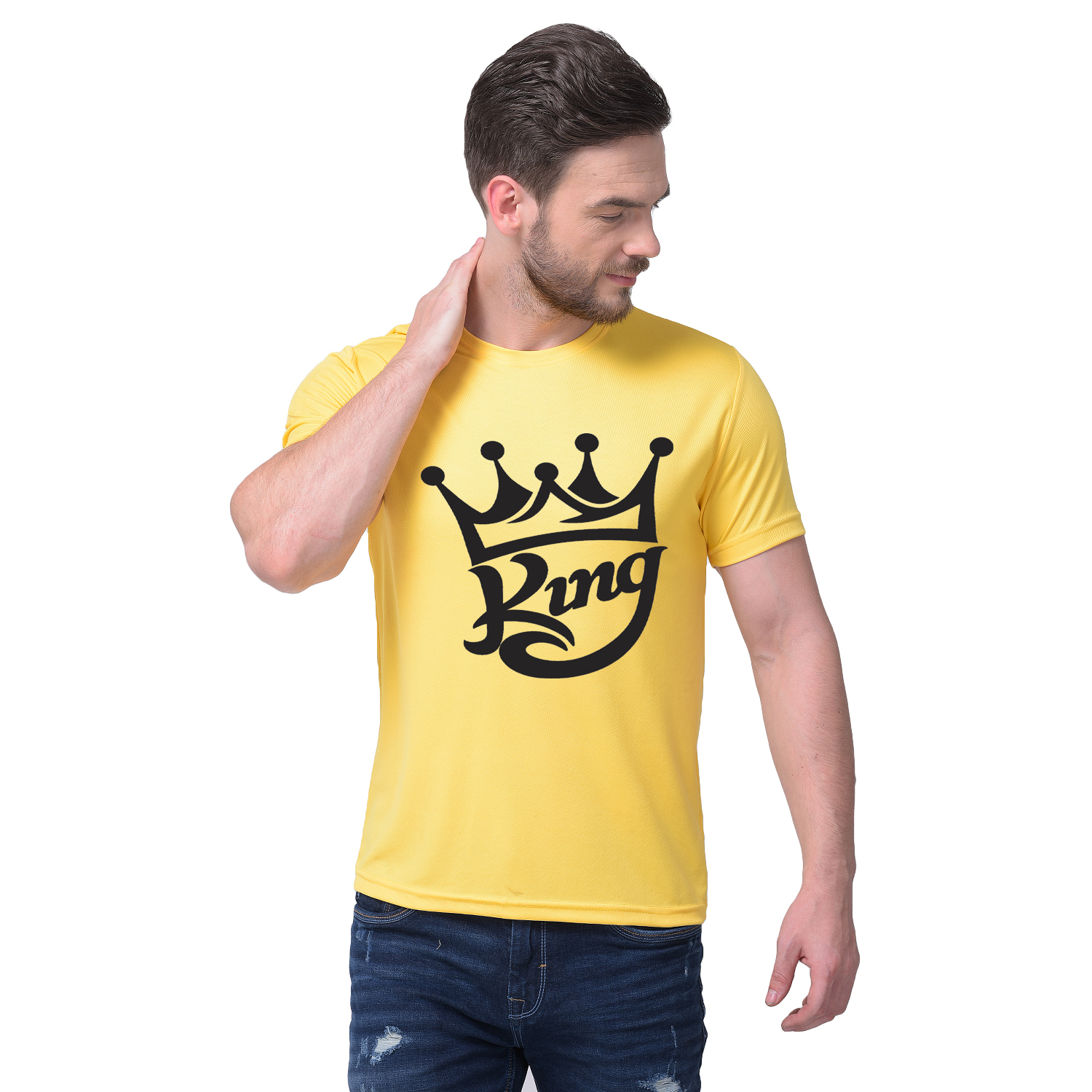 Harshys Yellow Dry Fit Printed T Shirt For Men