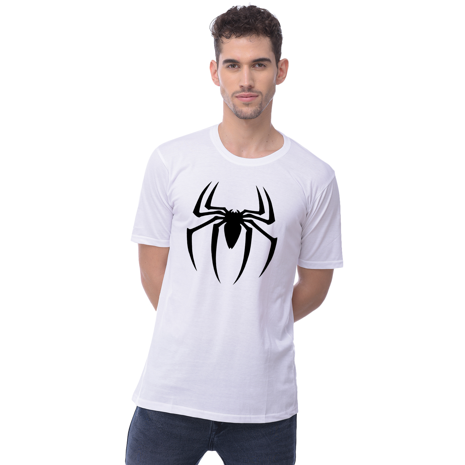 Harshys White Dry Fit Printed T Shirt For Men