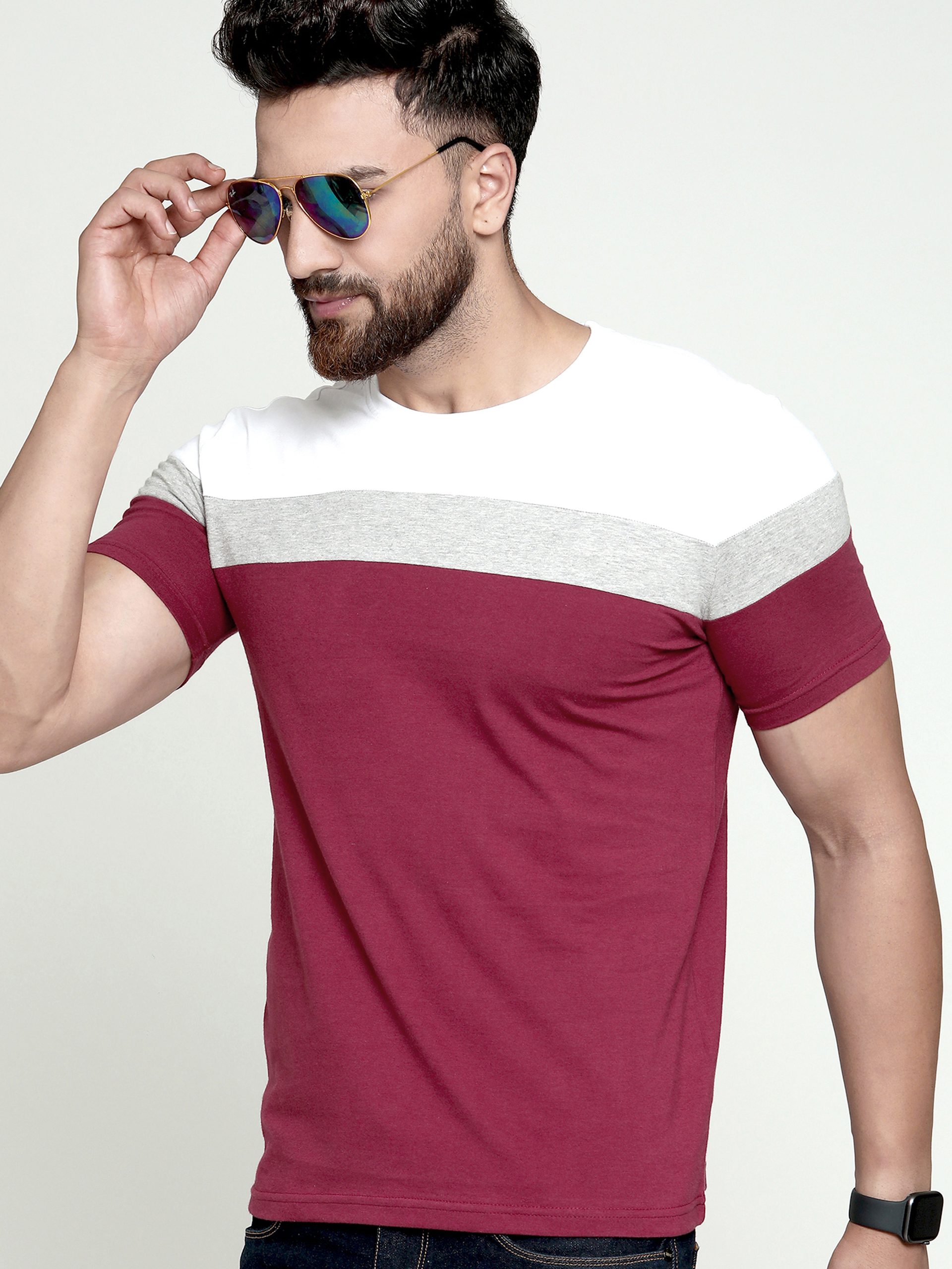 AUSK Multi Color Block T-Shirt For Men