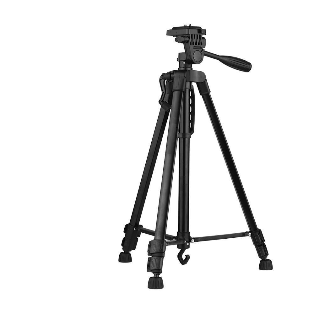 Drumstone 3366 Black Tripod Mobile Phone and Camera Stand with Tilt Pan 360 Degree Horizontal & Vertical Rotating Head 55 Inches Height- Free Mobile Holder