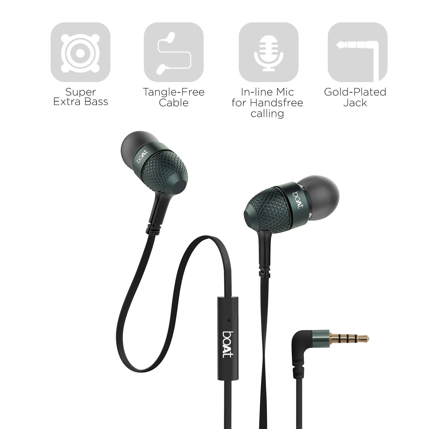 Drumstone boAt Bass Heads 225 in-Ear Headphones with Mic