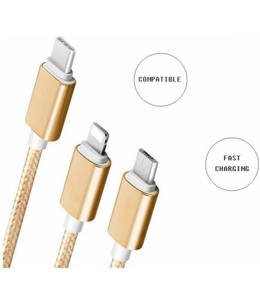 Drumstone Durable Multipin 3-in-1 Charging Cable for All Latest Smarphones