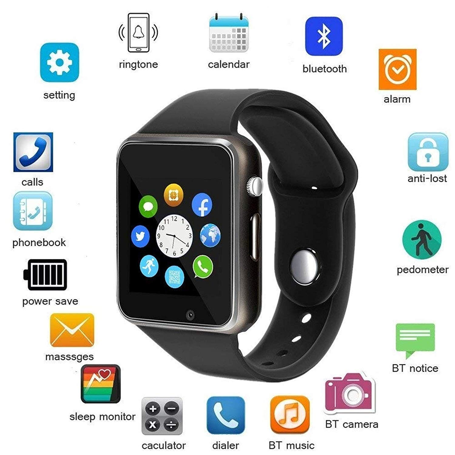 Drumstone A1 Bluetooth Smartwatch Android 4G Phone Watch with Camera/SIM Card Slot Sports Tracker Smart Watch for Unisex