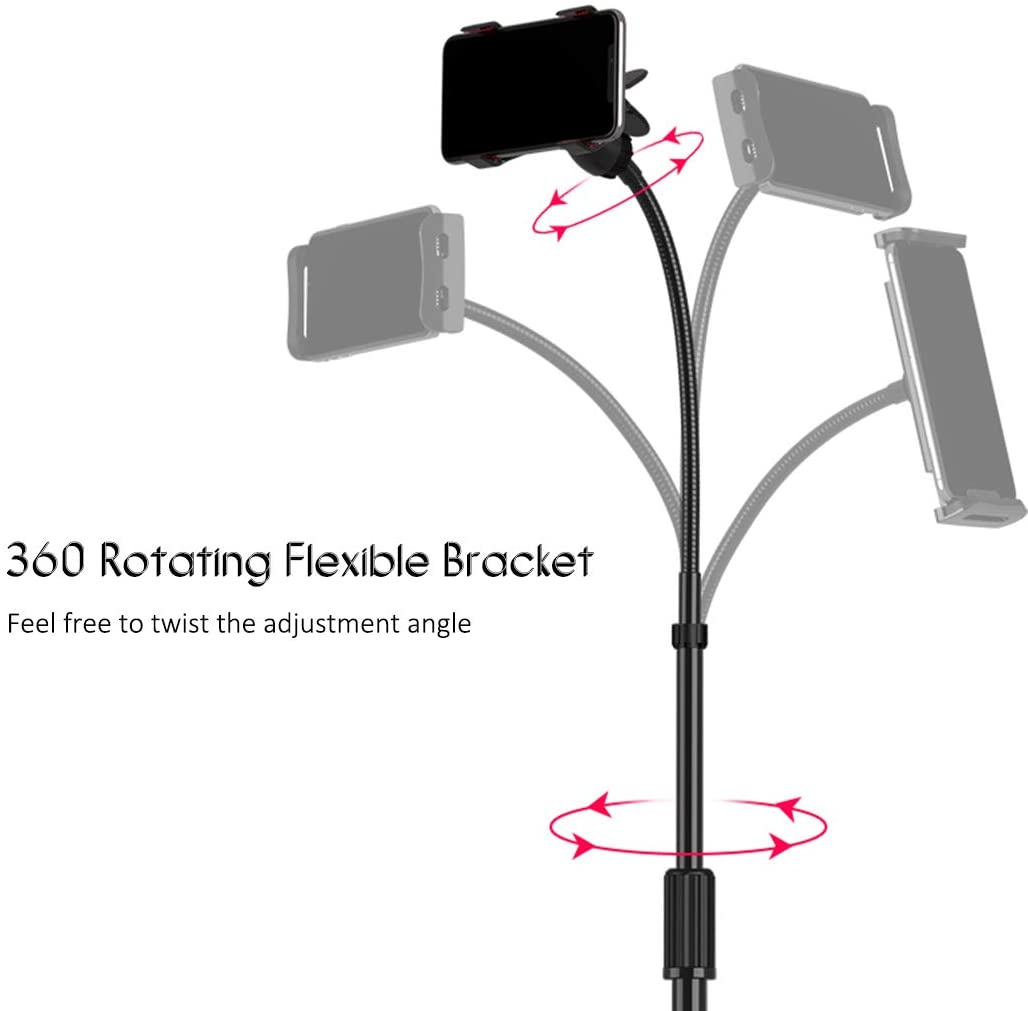 Drumstone Portable Tripod Stand for 4.7-10 Inch Tablets, 107-168cm Height Adjustable, 360 Degree Rotation For All Smartphones & Tablets With 1 Year Warranty