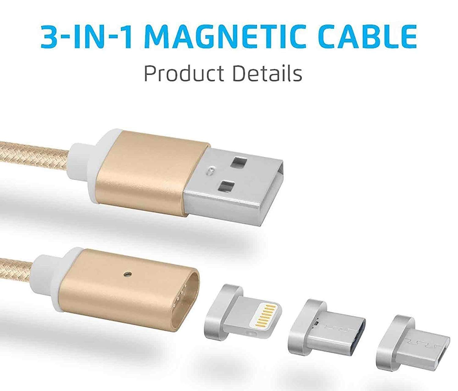 Drumstone 3 in 1 Multi Charging Cable Ligthning/Micro USB/USB C for All Smartphones