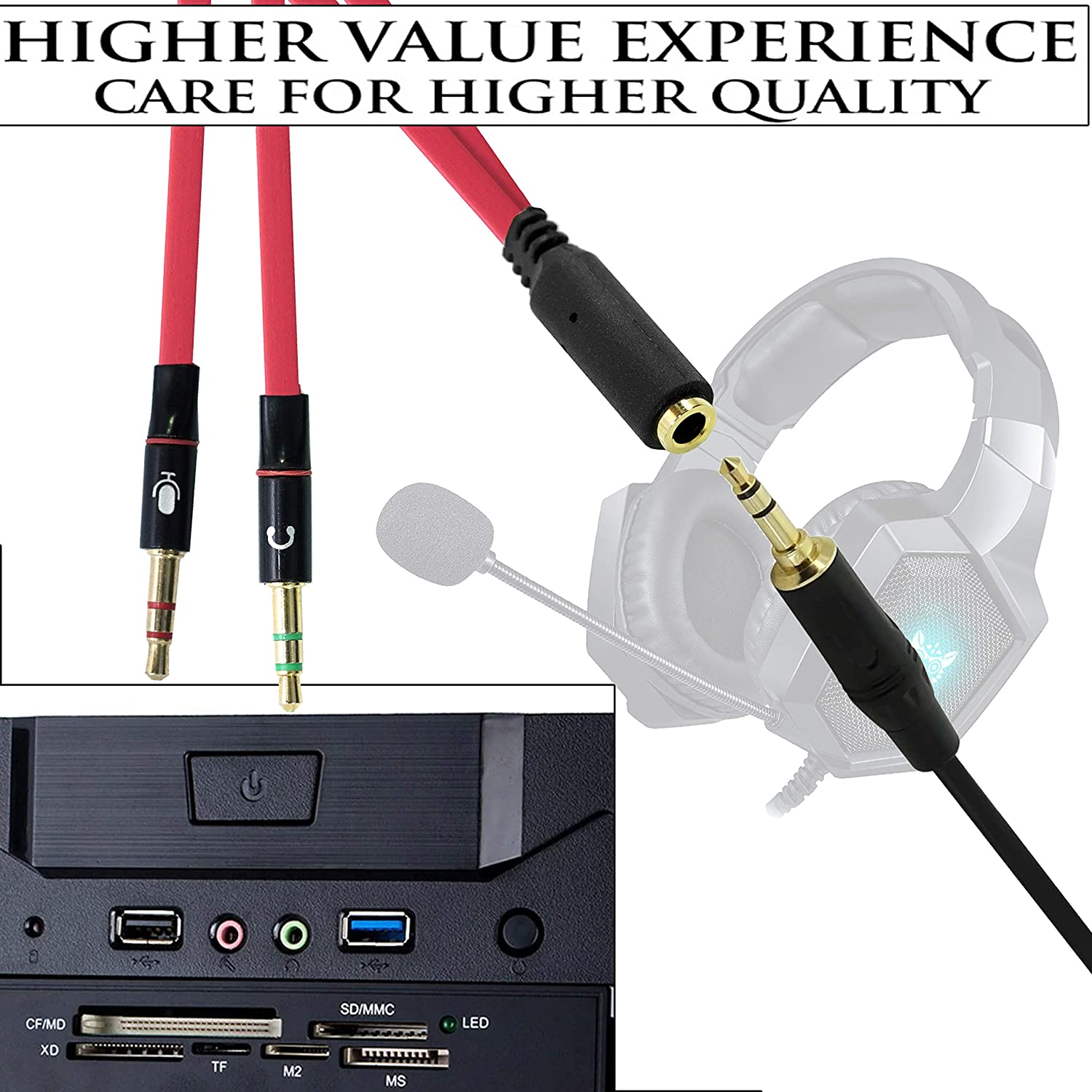 Drumstone Gold Plated 2 Male to 1 Female 3.5mm Headphone Earphone Mic Audio Y Splitter Cable for Mobiles,PC Laptop