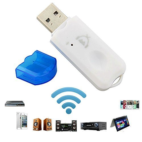 Drumstone WhtBlue Receiver USB Wireless Bluetooth Dongle Streaming Car Music Receiver Adapter for All Android Device