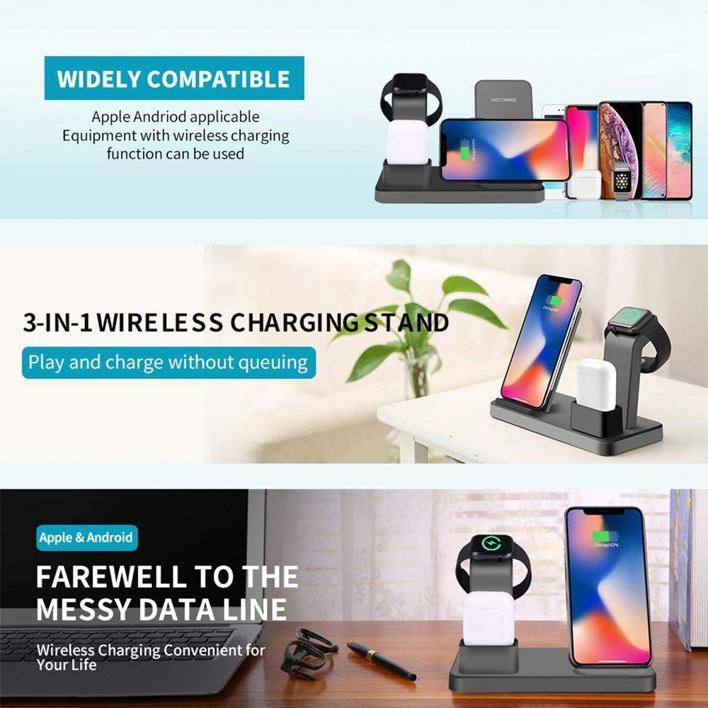 Drumstone 3 in 1 Charging Stand for Apple Watch Airpods,Airpods Pro iPhone, Qi Fast Charger Dock with USB Output,Wireless Charging Station Holder