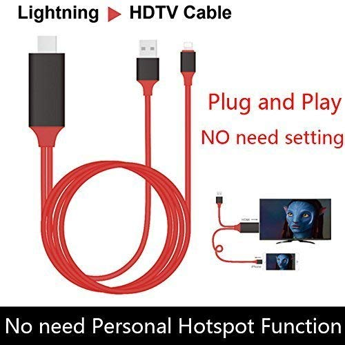 Drumstone 8 Pin to HDMI Cable, 6.5ft 1080P HDTV Cable for,Ipad Mini Video Adapter