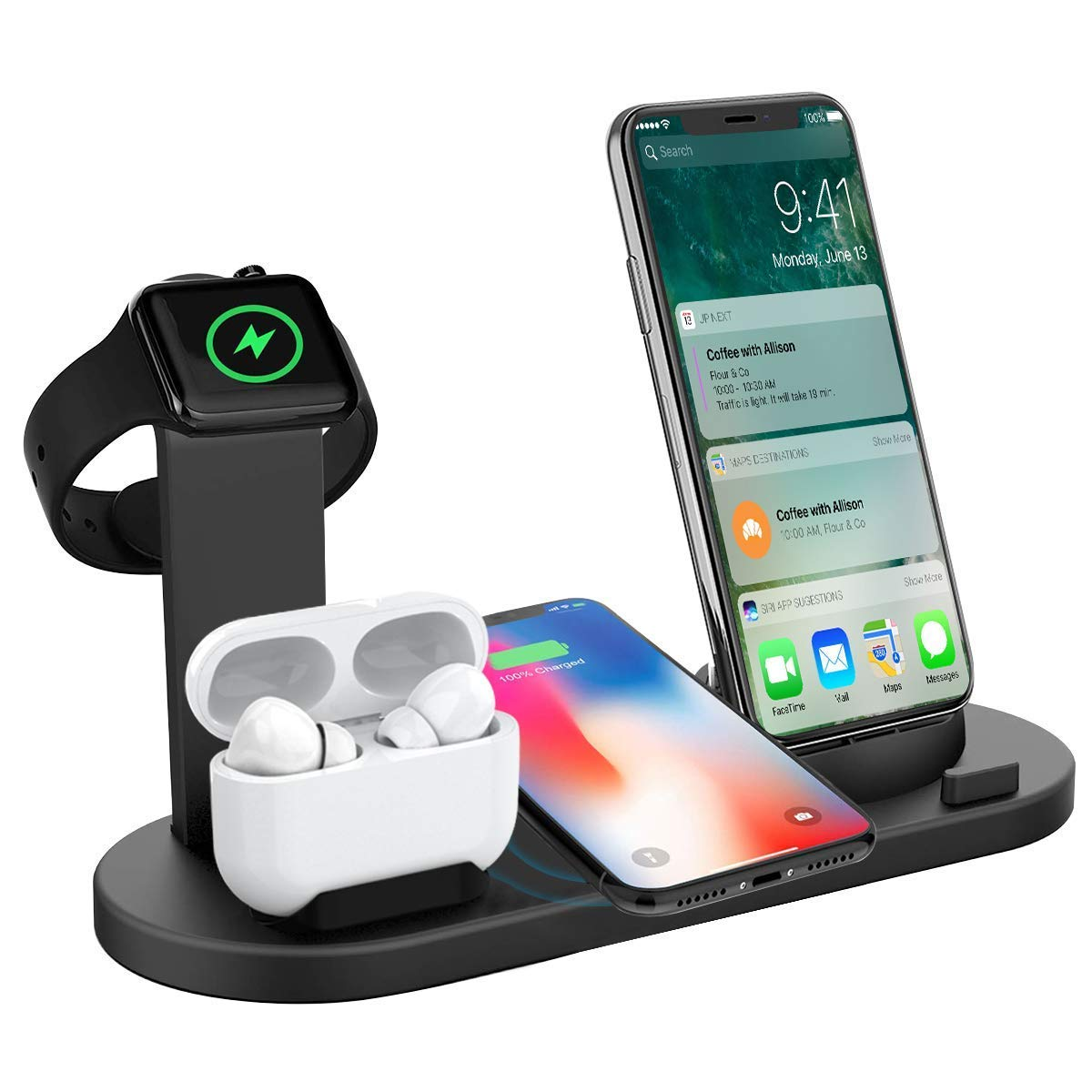 Drumstone 3 in 1 Multifunction Aluminum Wireless Charging Stand, Charging Station for Twin Headset,Fast Wireless Charger Dock
