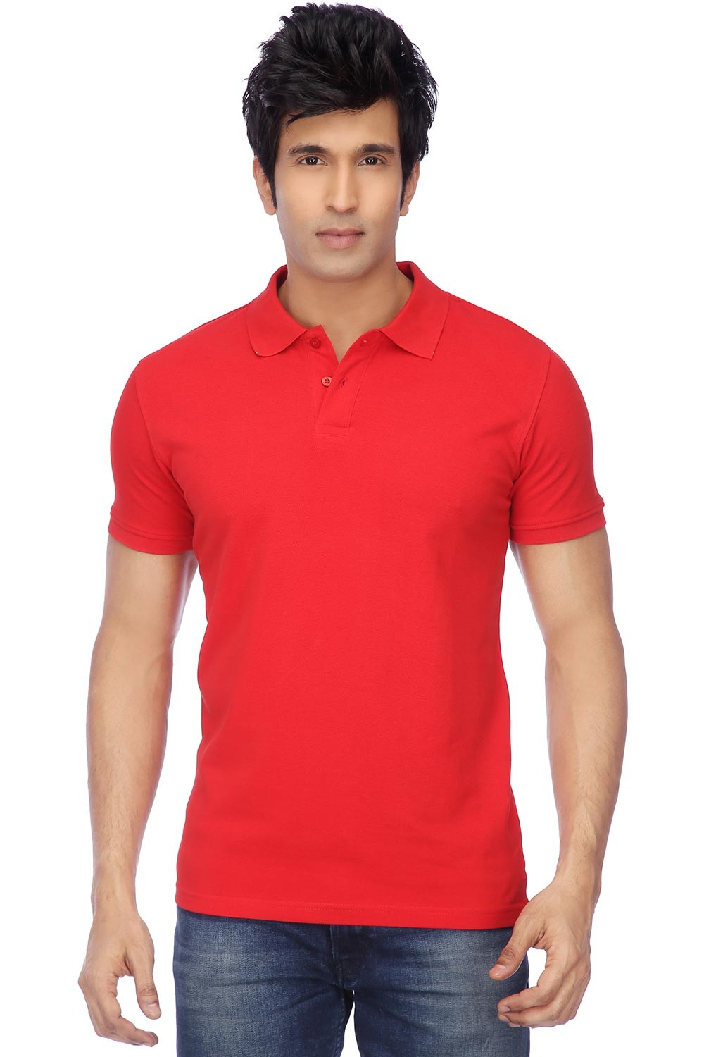 Funky Guys Polyester Cotton Red Plain Polo T Shirt
