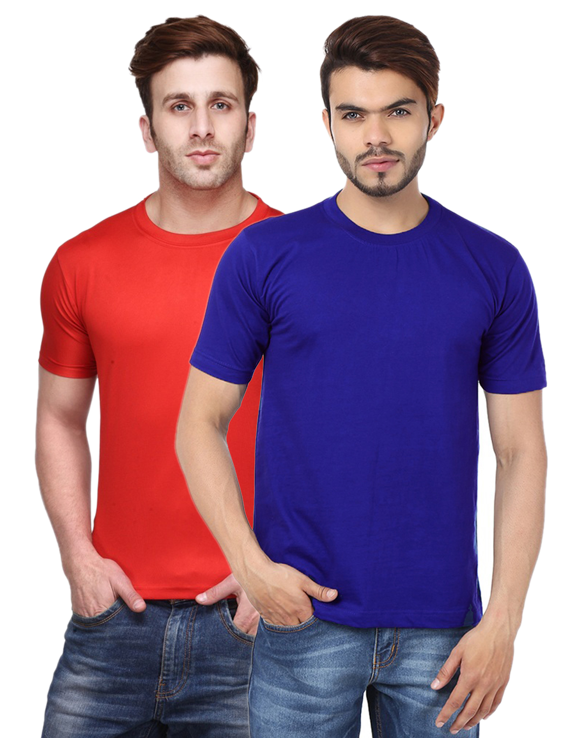 Funky Guys Round Neck Men'S Polyster Blend Dri Fit Tshirts (Pack Of 2)