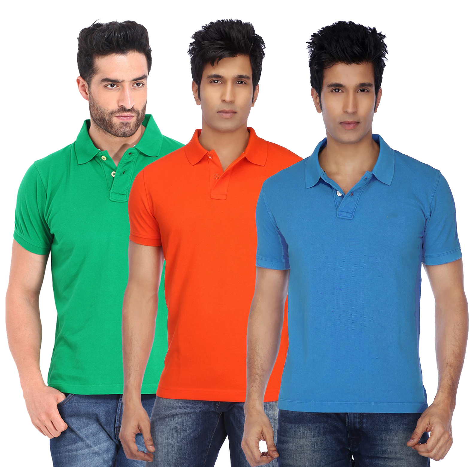 Funky Guys Slim Fit Polyster Polo Neck T-Shirts ( Pack Of 3)