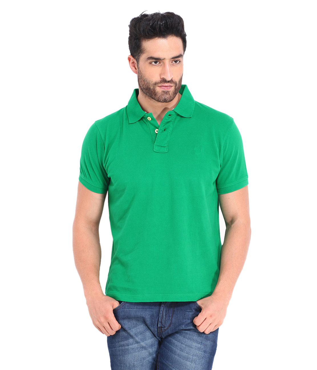 Funky Guys Polyester Cotton Green Plain Polo T Shirt