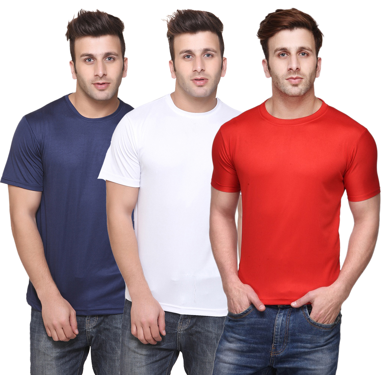Funky Guys Round Neck Men'S Polyster Blend Dri Fit Tshirts (Pack Of 3)