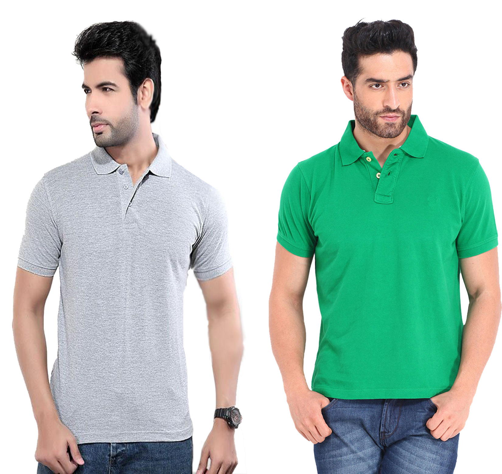 Funky Guys Slim Fit Polyster Polo Neck T-Shirts ( Pack Of 2)