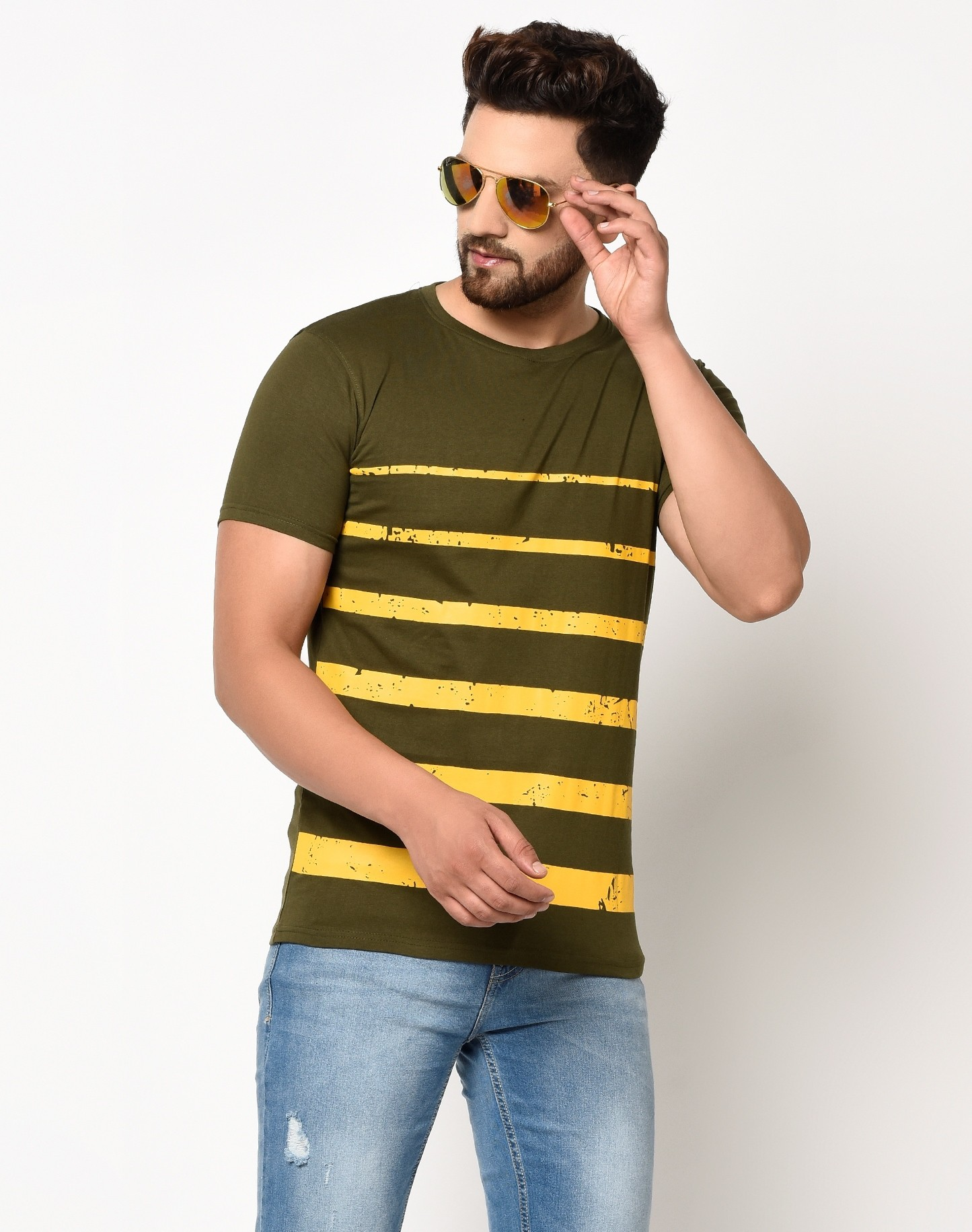 Smartees Green Cotton Blend Round Neck Striped T-shirt For Men