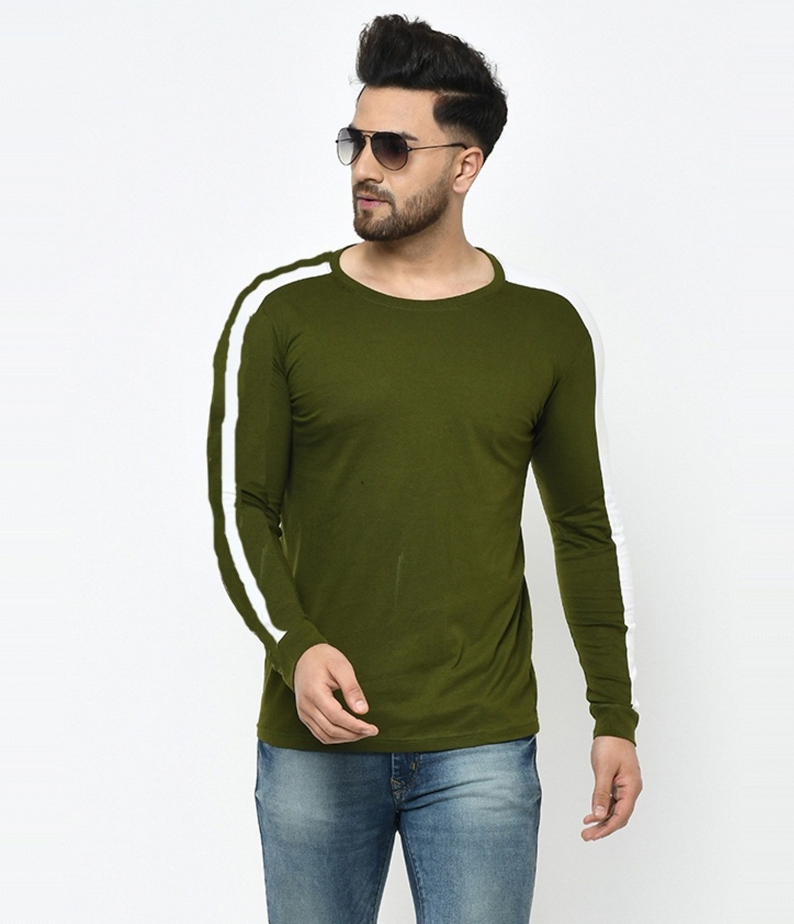 Smartees Green Cotton Blend Round Neck Self Design T-shirt For Men