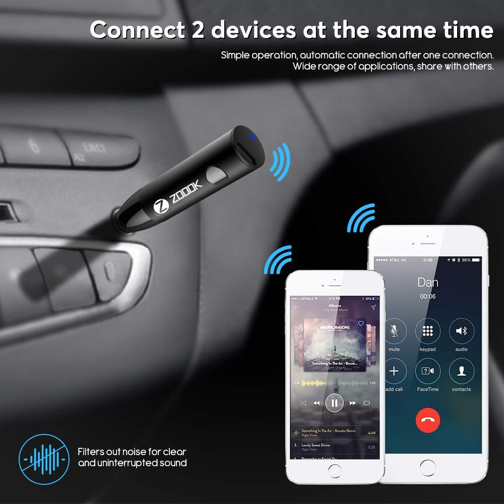 Zoook Rocker Bluemate+ Smart Bluetooth Receiver and Wireless car kit for Stereo/Headphone/Car/Home Theatre/Wired Speakers/Bluetooth Adapter with Mic for Handsfree Call and Music