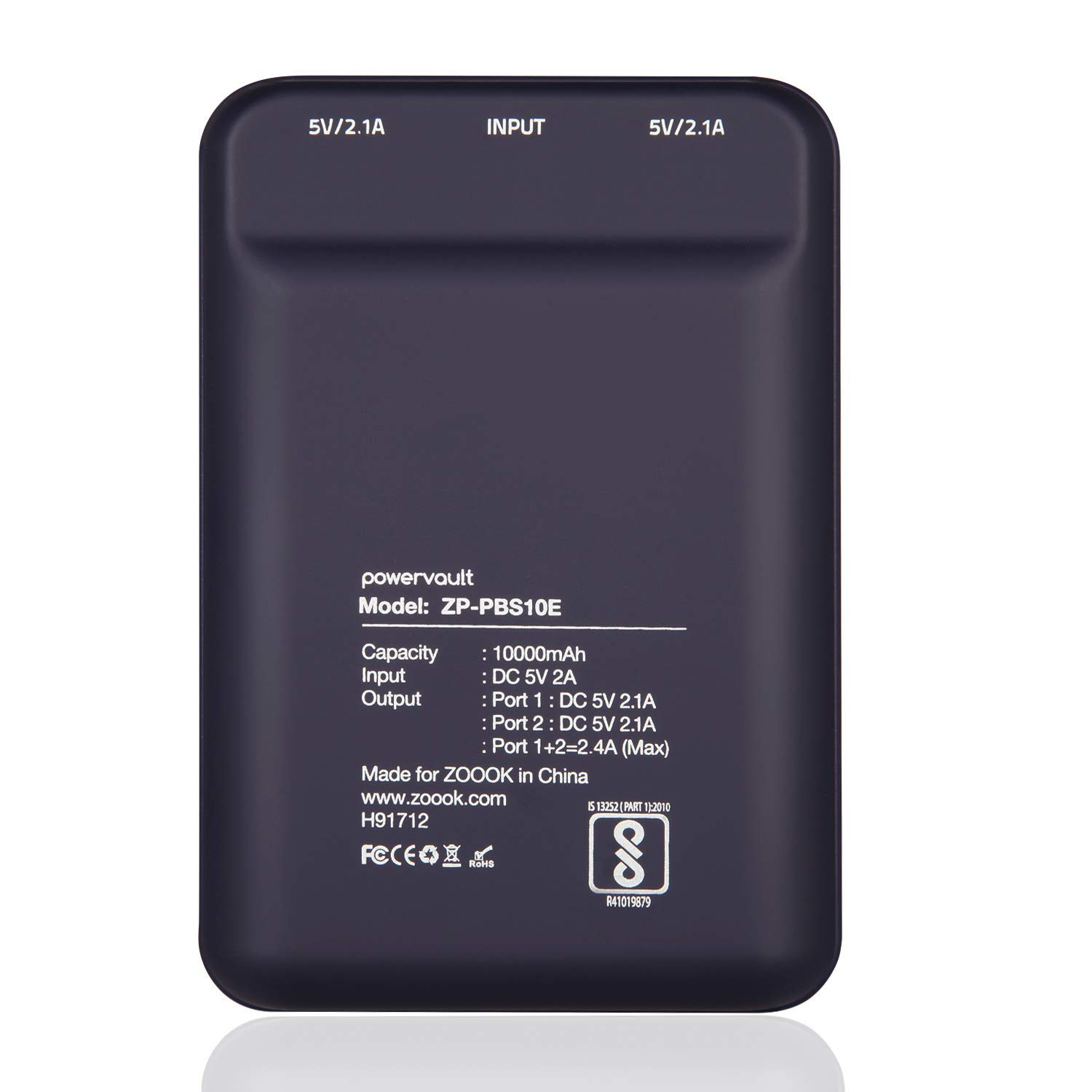 Zoook PBS10E 10000mAH Lithium-Polymer Dual Output World's Smallest Power Bank (Black)