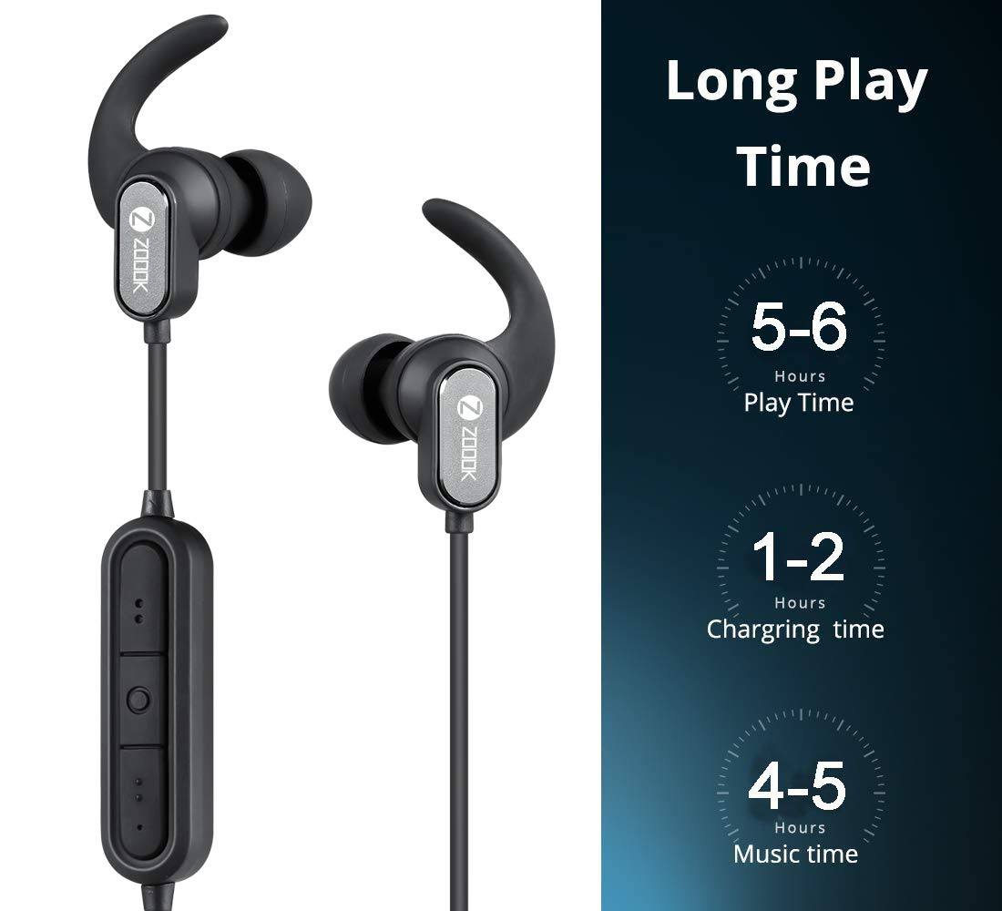 Zoook Upbeat Sports Wireless Bluetooth Headphones with Built-in Mic & Bluetooth 5.0 (Black)