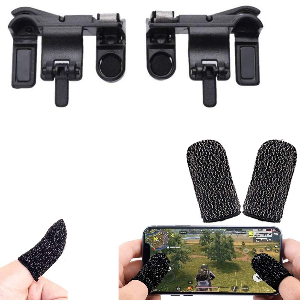 Nory Black PUBG Buttons L1 R1 Trigger Mobile Game Controller Shoot and Aim with Free Gaming Finger Sleeve Touchscreen Finger Gloves Anti-Sweat Touch and Sensitive