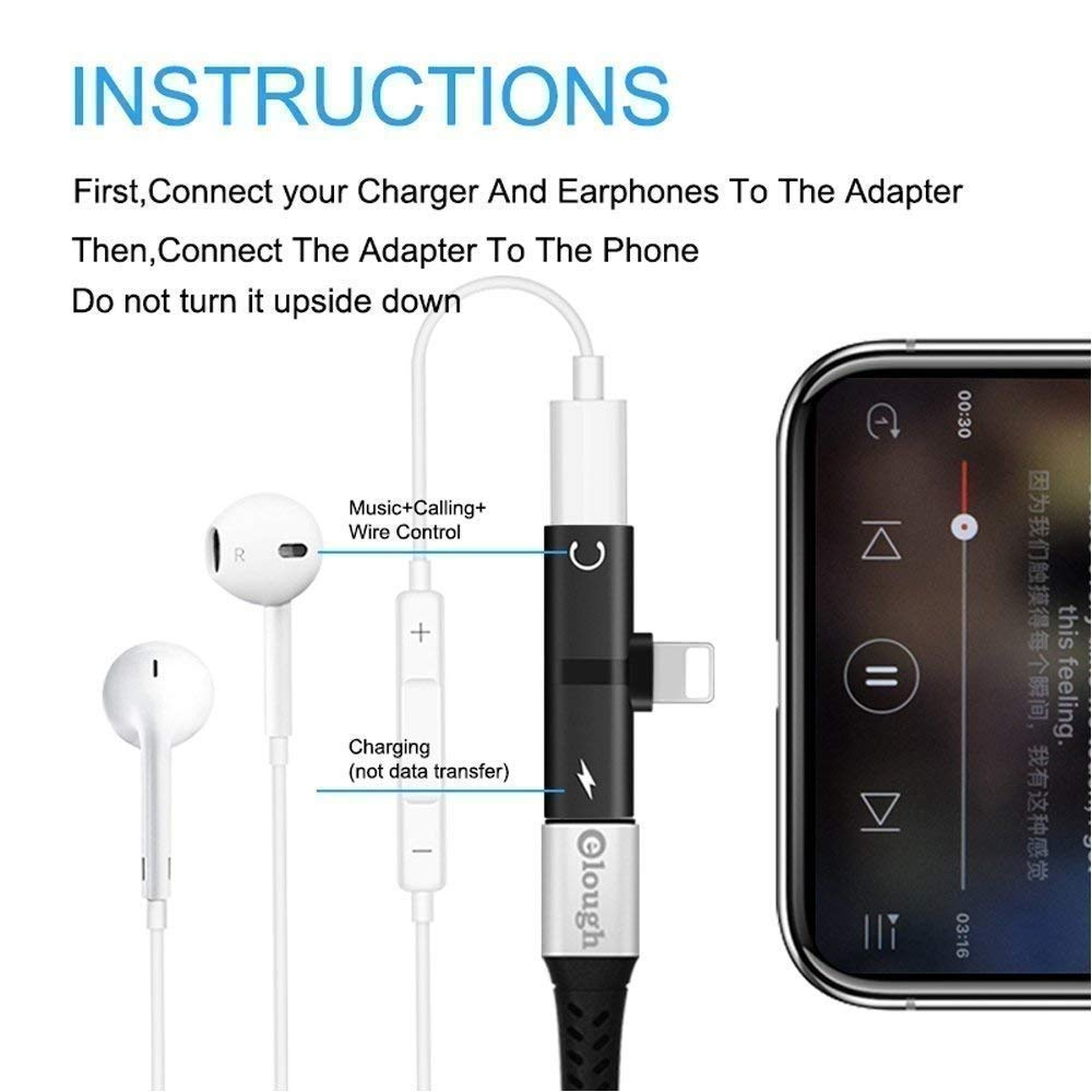 Nory Pack of 2, 2 in 1 Mini Portable Charging Metal Splitter Audio & Charging Adapter Convertor for Apple iPhone X/8/8Plus/7/7Plus/6/6Plus