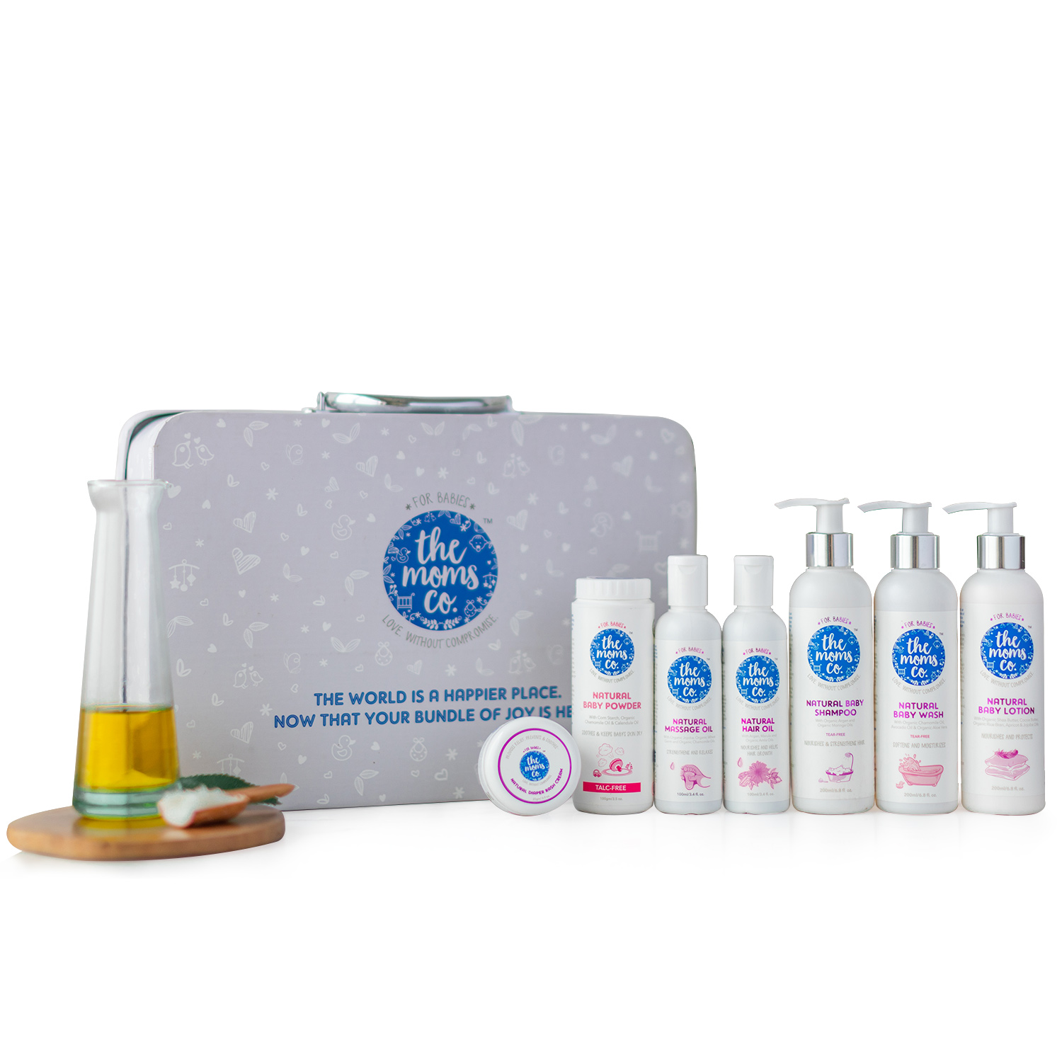 The Moms Co. Everything For Baby Suitcase Gift Box with Lotion (200 ml), Hair oil (100 ml), Massage oil (100 ml), Shampoo (200 ml), Body Wash (200 ml), Diaper rash (25 gm) and Powder (100 gm)