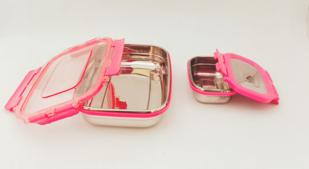 SPT 2 Pcs Stainless Steel Lunch Box - Pink