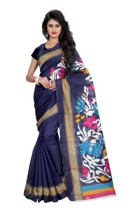 SVB Blue Silk Blend Saree With Blouse