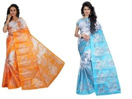 SVB Saree Yellow Blue Printed Saree Without Blouse Piece Pack Of 2