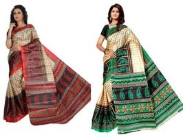 SVB Saree Red Green Printed Saree Without Blouse Piece Pack Of 2