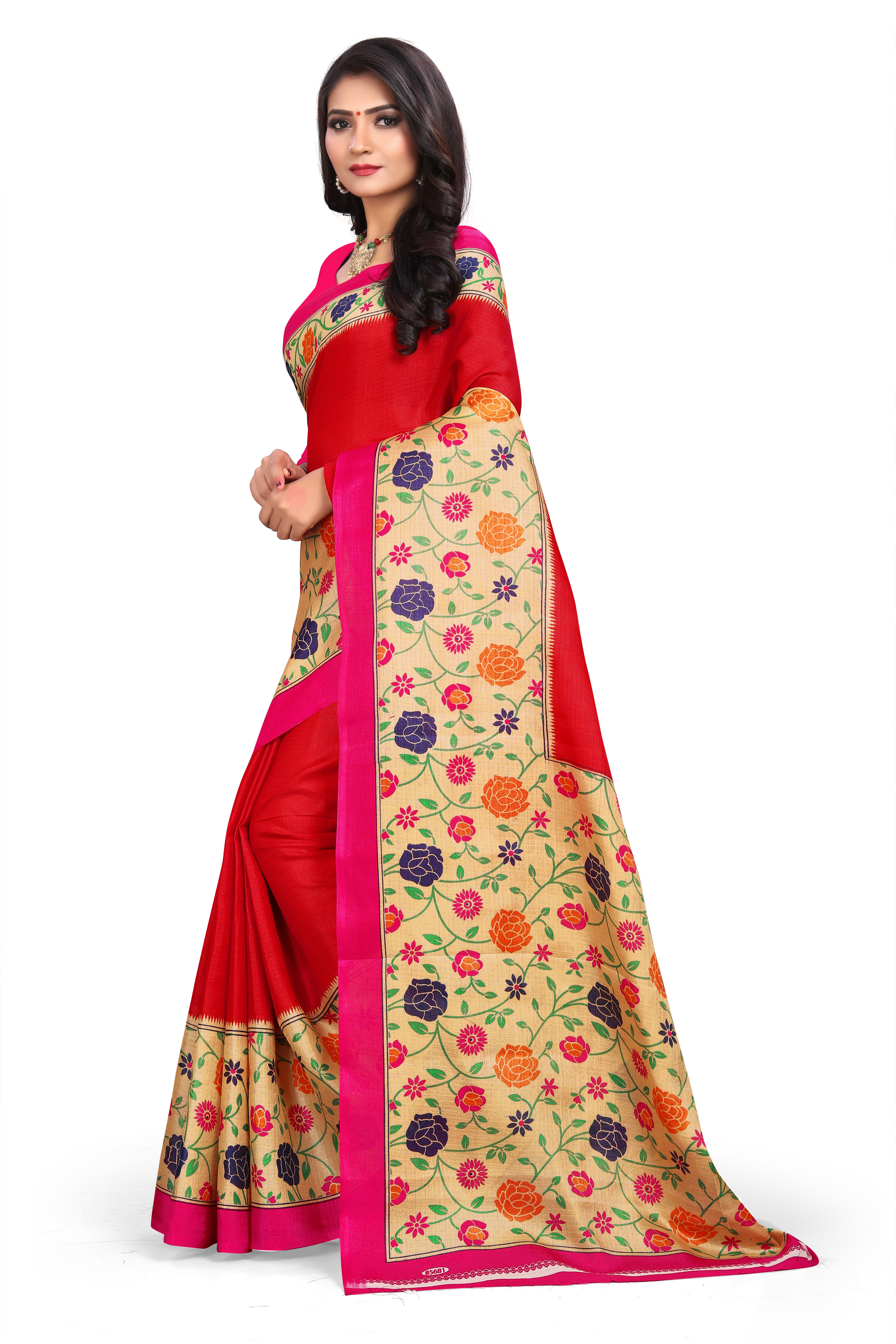 SVB Red Silk Blend Saree With Blouse